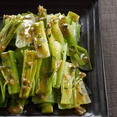 Steamed Leeks with Mustard-Shallot Vinaigrette // More Leek Recipes: http://www.foodandwine.com/slideshows/leeks #foodandwine