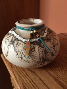 Southwestern NM ceramic clay white bowl horsehair fired smooth surface and texture $70