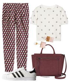 Vita Fede earrings, Alice + Olivia top, J. Crew pants, Adidas sneakers, Rebecca Minkoff tote