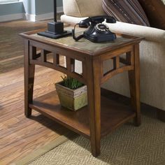 Riverside Furniture Andorra End Table Finish: Eden Burnished Cherry Chair Side Table, End Table Sets, End Tables With Storage, Sofa Tables, Coffee Tables, Arts And Crafts Furniture, Furniture Design, Furniture Ideas, Amish Furniture