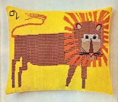 50s Needlepoint Lion Pillow pdf Pattern by illkniterate on Etsy