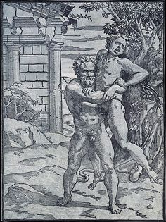 Ugo da Carpi   Hercules and Antaeus   The Met