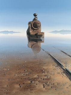 "amazing photo of a train now abandoned that seems to be rising from the haunted waters of a lake , great landscape photo imagery Keith Alexander. ""The truth is, most of us discover where we are headed when we arrive. Abandoned Buildings, Abandoned Train, Abandoned Mansions, Abandoned Places, Abandoned Castles, Abandoned Vehicles, Haunted Places, Old Trains, Train Tracks"