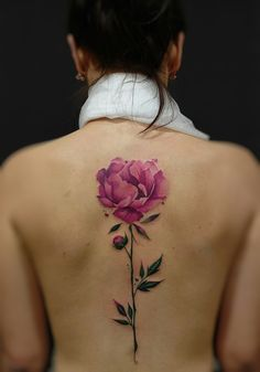 Flower tattoo on back new school by Anastasiya Dadeeva Finger Tattoo – Fashion Tattoos Tattoo Girls, Hip Tattoos For Girls, Girl Thigh Tattoos, Girl Shoulder Tattoos, Small Girl Tattoos, Tattoo Designs For Girls, Pink Flower Tattoos, Flower Tattoo Back, Rose Tattoos