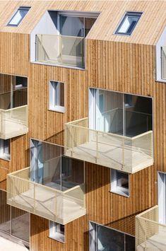 Gallery - 9 Social Housing Units In Paris / Atelier Du Pont - 9 gevel compositie dakvorm materialisatie terrassen balkons borstweringen geperforeerd appartementen hout
