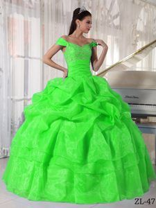 Wholesale Off The Shoulder Spring Green Quinceanera Dress with Pick-ups