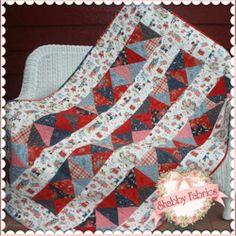"Baker's Dozen: The Baker's Dozen pattern uses a total of 13 fabrics to make this darling Lap size quilt. Just pick 12 fat quarters plus a border fabric! Finished size is approx 45"" x 69""."