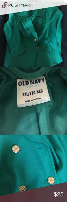 Old Navy Pea Coat Green w/ Gold buttons EUC sz XXL Old Navy Pea Coat Green w/ Gold buttons EUC sz XXL. Worn 3 or 4 times and still in excellent condition. Old Navy Jackets & Coats Pea Coats
