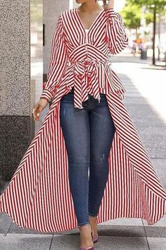V-Neck Striped Tie Waist Dip Asymmetrical Hem blouse for women chic blouse for women chic casual blouse for women chic style blouse for women chic fashion designers blouse for women chic shirts Trend Fashion, Womens Fashion, Ladies Fashion, Fashion Ideas, Cheap Fashion, Autumn Fashion, Stripped Shirt, Long Blouse, Mode Outfits