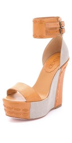ankle cuff leather wedge sandal by RED Valentino