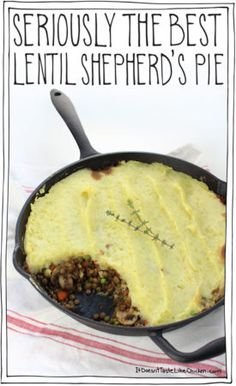 Seriously The Best Lentil Shepherd's Pie Perfect for the holidays or a hearty weekend meal. The garlic mashed potatoes take this from ordinary to extraordinary! Can be made ahead of time and reheated. - Seriously The Best Lentil Shepherd's Pie Veggie Dishes, Veggie Recipes, Whole Food Recipes, Vegetarian Recipes, Cooking Recipes, Healthy Recipes, Pie Recipes, Dinner Recipes, Dinner Ideas