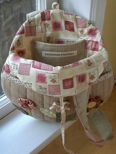 Round Flower Bag - lining by PatchworkPottery