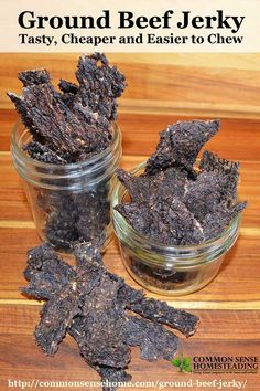 Budget Friendly Ground Beef Jerky Recipe Save money by making your own homemade ground beef jerky. Ground beef jerky is less expensive, easier to make and easier to chew. Venison Jerky Recipe, Homemade Beef Jerky, Hamburger Jerky Recipe Dehydrator, Sausage Jerky Recipe, Sausage Recipes, Keto Beef Jerky Recipe, Jerky Dehydrator, Homemade Kahlua, Bacon Jerky