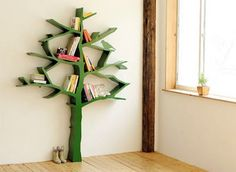 DIY instructions for a tree branch book shelf.