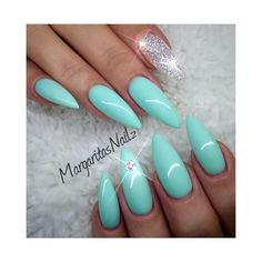 Mint Green Nail Art Gallery ❤ liked on Polyvore featuring nails