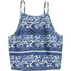 Short Patterned Camisole Top $12.99 ($13) ❤ liked on Polyvore featuring tops, shirts, crop tops, tank tops, blue crop top, short crop tops, floral print top, blue floral top and floral print shirt