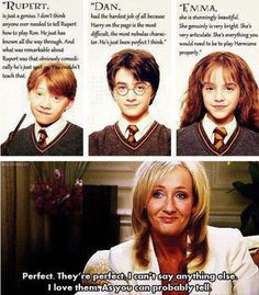J.K. Rowling comments on Rupert Grint, Daniel Radcliff, and Emma Watson