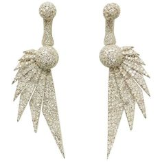 18 Karat Divine Diamond Art Deco Wing Earrings One Of A Kind ($9,000) ❤ liked on Polyvore featuring jewelry, earrings, drop earrings, multiple, diamond earrings, art deco drop earrings, diamond jewellery, diamond jewelry and druzy drop earrings