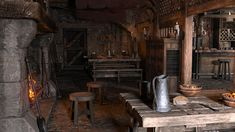 Fantasy Inn, Medieval Bedroom, Red Crow, Interior Inspiration, Design Inspiration, Viking House, Barrel Table, Wall Candle Holders, Interior Concept