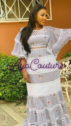 Love this lace African Lace Dresses, African Fashion Dresses, Aya Couture, African Print Skirt, Maxi Gowns, Africa Fashion, Stylish Outfits, Short Sleeve Dresses, Clothes For Women