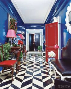 hall floor .Black and white stone floors, surrounded by color!