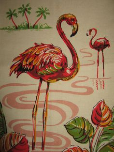 Vintage Pink Flamingoes Tea Kitchen Towel by randomretro on Etsy, $42.00