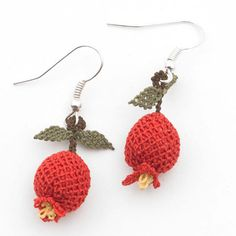 Pomegranate earrings. Lacework of silk or cotton thread.@ Afshan Shahid