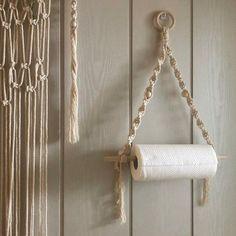 Diy Macrame Wall Hanging, Macrame Mirror, Macrame Curtain, Macrame Art, Tissue Paper Roll, Bedroom Sitting Room, Boho Bathroom, Small Bathroom, Wooden Bathroom