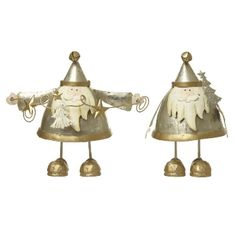 Dumpy Standing Metal Santa Mix: This mix of two dumpy standing Santa decorations are just adorable!  -Featuring cute little silver jackets and matching pointy hats -These two sweet items would make a simply charming decoration for a table or mantelpiece.
