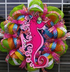 Pink Seahorse Deco Mesh Wreath with polka dot by WreathsByTheSea, $75.00