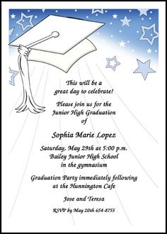 save with these colorful caps middle school graduation, invitation samples