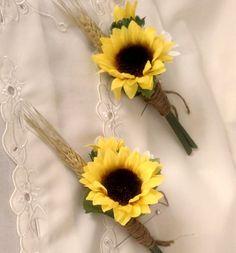 burlap wedding accesories | Sunflower boutonniere Bridal party accessories groom, groomsmen ...