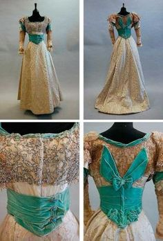 A turquoise velvet and brocaded satin evening gown, ca. 1900, with elaborately sequined and beaded bodice, the waist and cuffs trimmed with turquoise and paste studs, lace sleeves, full skirt. Kerry Taylor Auctions by erna
