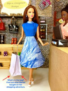 Dress for Barbie Dolls Handmade Blue and White by EnchantedStyles