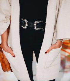 long coat + all black + double buckle belt