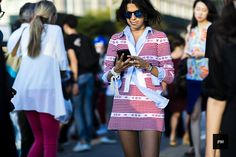 Leandra Medine during New York Fashion Week Spring Summer 2016.