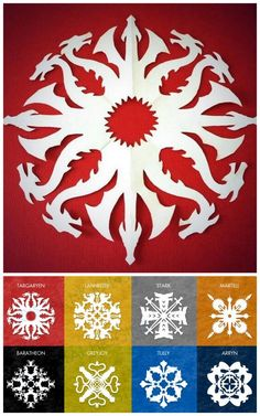 DIY 8 Game of Thrones Snowflake Patterns from Krystal Higgins here.For 56 Star Wars snowflake templates and other DIY snowflakes (ballerinas, zombies, Tardis etc…) go here:truebluemeandyou.tumblr.com/tagged/snowflakes