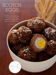 Scotch Eggs  Makes: 12    Ingredients:  12 quail eggs, hard boiled and peeled  1/2 pound low sodium breakfast sausage  1  cup seasoned breadcrumbs  1/2 cup grated parmesan cheese, divided  salt and pepper to taste  1 quart oil for frying  12 wooden cocktail picks  Directions:  1. Pour oil into a large pot and begin preheating on medium-high heat.