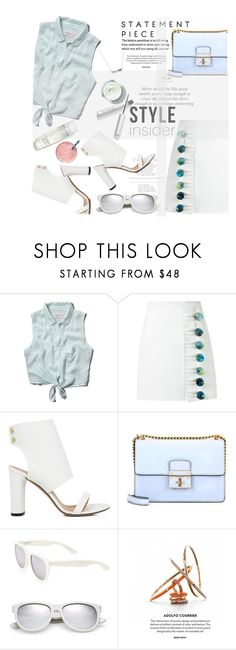 """""""in to the blue"""" by nataskaz ❤ liked on Polyvore featuring Abercrombie & Fitch, Christopher Esber, IRO, Dolce&Gabbana, Yves Saint Laurent, contestentry and styleinsider"""