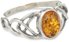 Amazon.com: Sterling Silver Amber Celtic Love Knots Ring: Jewelry