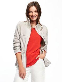 Linen-Blend Field Jacket for Women