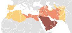 636 a 756 - Expansión musulmana -  caerían el Imperio sasánida, el norte de África, y la Península Ibérica, incluyendo partes del Imperio bizantino.
