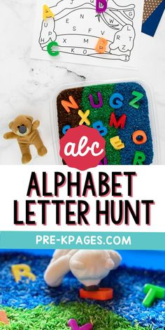 This alphabet letter hunt makes the perfect companion activity to go along with the classic children's book, Going on a Bear Hunt by Helen Oxenbury and Michael Rosen. It's a super fun, hands-on literacy activity to motivate your preschoolers to practice letter recognition skills Early Education, Early Childhood Education, Kids Learning Activities, Fun Learning, Letter Recognition Games, Michael Rosen, Pre K Pages, Teaching The Alphabet, Early Literacy