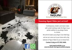 Good day All. Nguni Cow Hide Company sells Luxury Nguni Cow Hide rugs. We have a great selection for you to choose from and our service is to come out to your home for you to choose the best Nguni Hide for your space. Please call or whatsapp Craig on 729024440 and please also do visit our Facebook page at www.facebook.com/ngunicowhidecompany   #Nguni #NguniCowHides #NguniSkins #ZuluHides #AfricanGameskin #NguniCapeTown  #CowSkinCarpet #CowSkin #CowSkinRug  #CowSkinCapeTown #NguniCapeTown… Hide Rugs, Cow Hide Rug, Cow Skin Rug, Classic Style, Facebook, Space, Luxury, Design, Floor Space