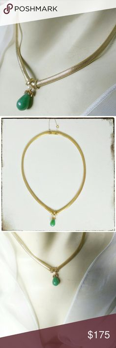Vintage Germany Henkel Grosse Jade Pearl Necklace Very rare and very well made 14k Rolled Gold snake chain collar necklace. Made with a tear drop of Nephrite Jade and a genuine freshwater pearl. Stunning workmanship from the 1960s manufactured in Germany by Henkel Grossed. Clasp is a slide style with a safety. The necklace measures approximately 16.5 inches long. Grosse Jewelry Necklaces
