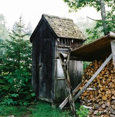 .outhouse or storage... covered shed for wood storage