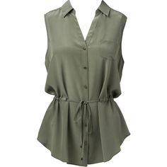 Forever New Sasha drawcord shirt (995 MXN) ❤ liked on Polyvore featuring tops, shirts, blouses, tank tops, blusas, khaki love, sleeveless shirts, drawstring shirt, utility shirt and shirt top
