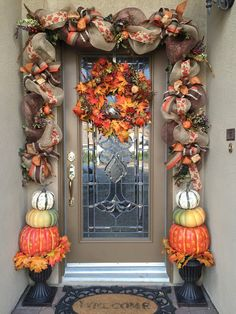 Decorate your front door with this 10 1/2 foot custom Fall Garland made with deco mesh and burlap wired ribbon and fall florals. (Wreath not included). **The Burlap Pumpkin Ribbon is sold out. I have a variety of ribbons that I can substitute it with that will look just as nice. Each Garland is custom-made, if you need a different size or color please message me. I would be happy to make something special for you.