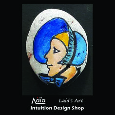 Sea pebble ring painted by Laia. Intuition Design Shop, Athens