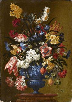 Mario Nuzzi, Mario de' Fiori (1603–1673) —    Flowers in a Blue Vase, c. 1640 (1806x1279)